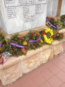 Beautiful wreaths laid at the Cenotaph on Remebrance Day 2014. Poppy wreaths were crocheted by the CWA ladies of Beaudesert.